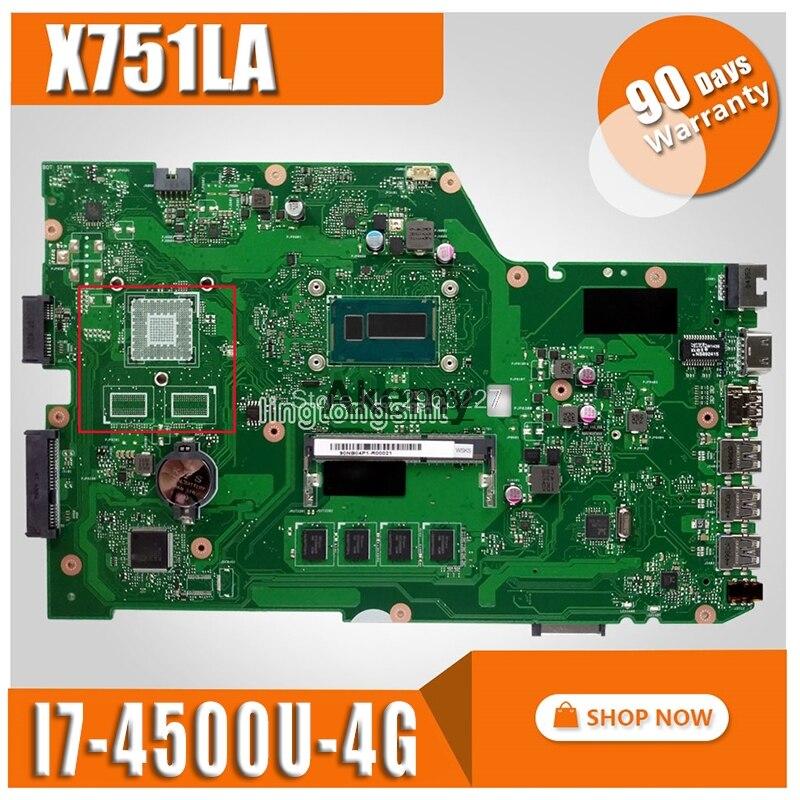 Para For Asus X751LA X751LAB R752L R752LD R752LN X751LD X751LX X751LD motherboard REV2.0 com I7 CPU mainboard 100% testado