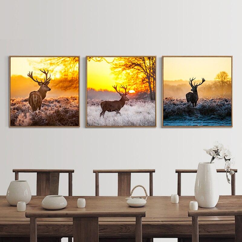 Lienzo nórdico Natural con diseño de ciervo y bosque de pino, cuadros artísticos para pared, póster con impresión en lienzo, sin marco, imágenes para decoración para habitación