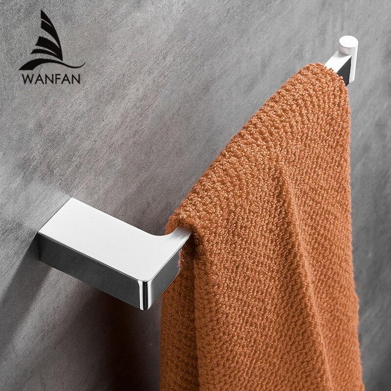 Gancho de toalla de pared blanco cuadrado Barra de riel de toalla de aleación de Zinc soporte de toallero pulido anillo para cocina baño 5780