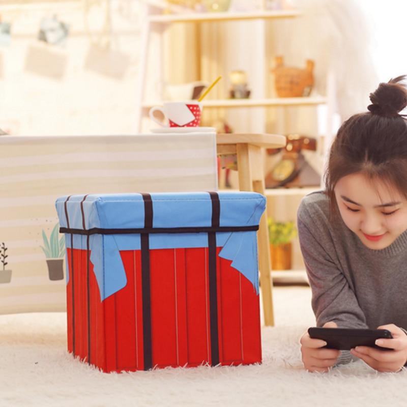 Storage box chair PUBG Game Playerunknowns Battlegrounds Air Drop Plush Plush pillow Gifts Cosplay Cube folding storage chair