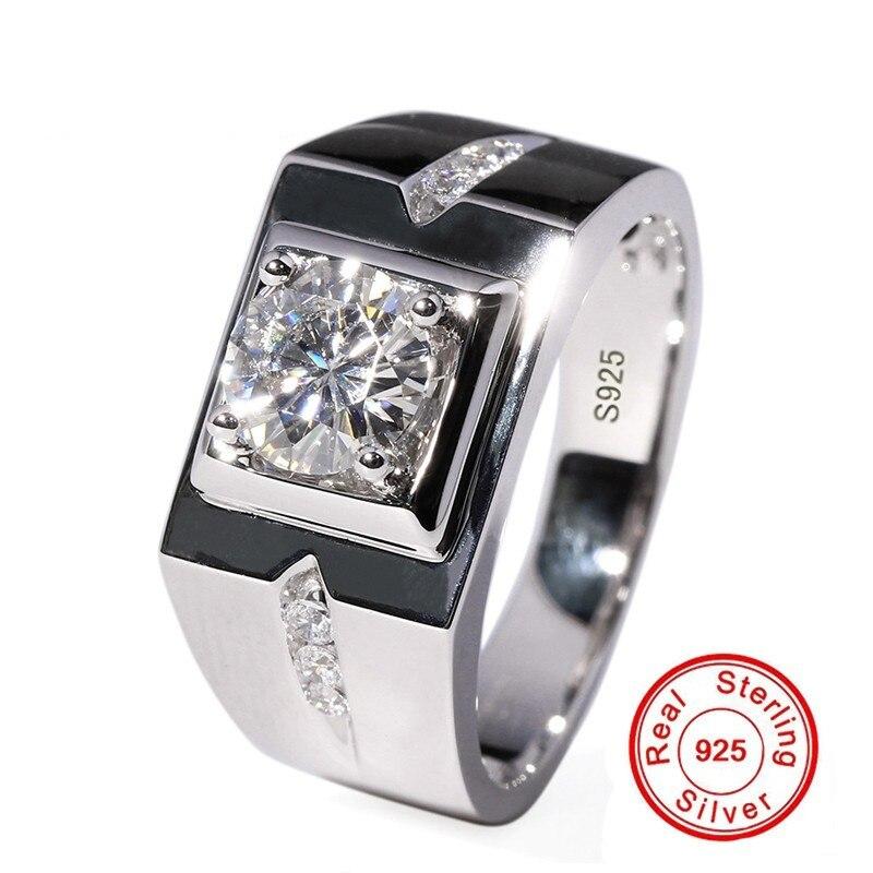 Мужское кольцо с 925 пробы, серебряное, 0.6ct, AAAAA, CZ, Диамант, обручальное кольцо для мужчин