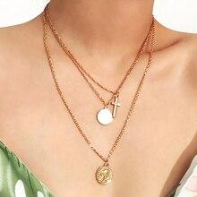 SRCOI collier en forme de croix Simple, collier en or Simple, pendentif en croix à disque rond, pendentif en forme de gravure, accessoire en chaîne Vintage minimaliste