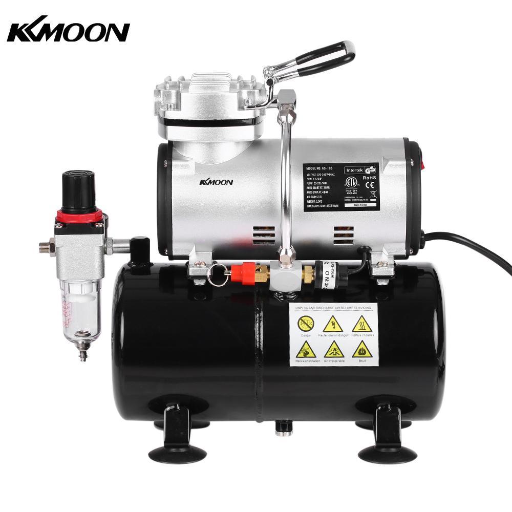 Kkmoon 1/6 hp pistão airbrush compressor sandblaster bomba de pistola de alta pressão tatuagem manicure pulverização compressor de ar