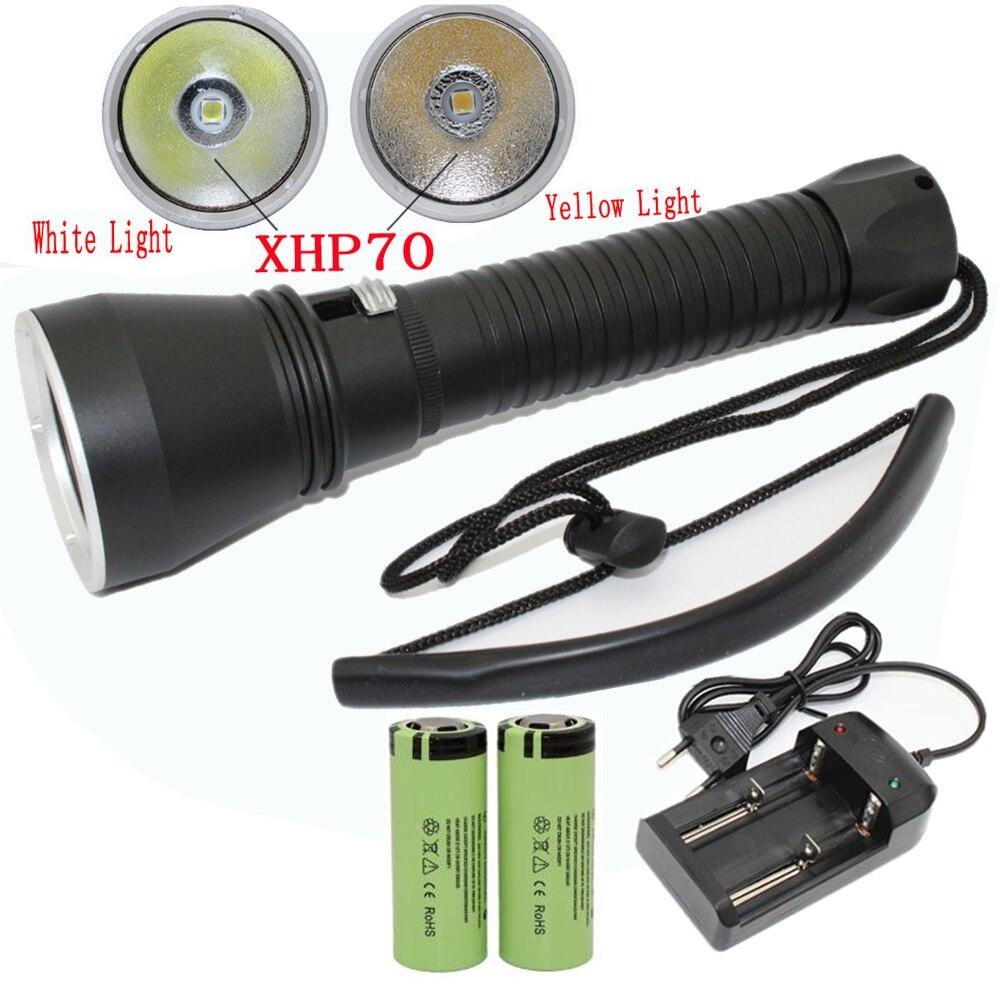 XHP70 XHP50 Mergulho lanterna LED 4200 Lumens yellow/white light tactical lâmpada subaquática à prova d' água da tocha