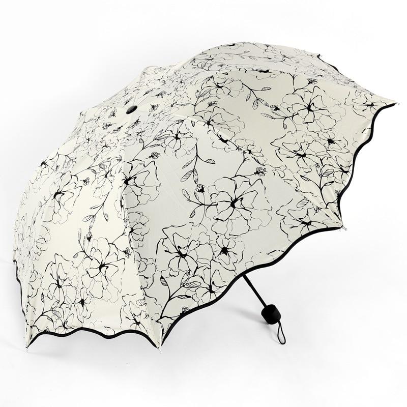 Hibiscus Painting Folding Umbrella For Women Men White Pocket Rainy Parasol Anti-UV Waterproof Portable Black Coating Umbrellas