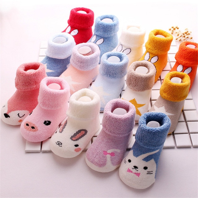 3 Pair Uinisex baby socks Spring Autumn terry socks warm toddler boy/girls floor socks infant clothing accessories 0-24m