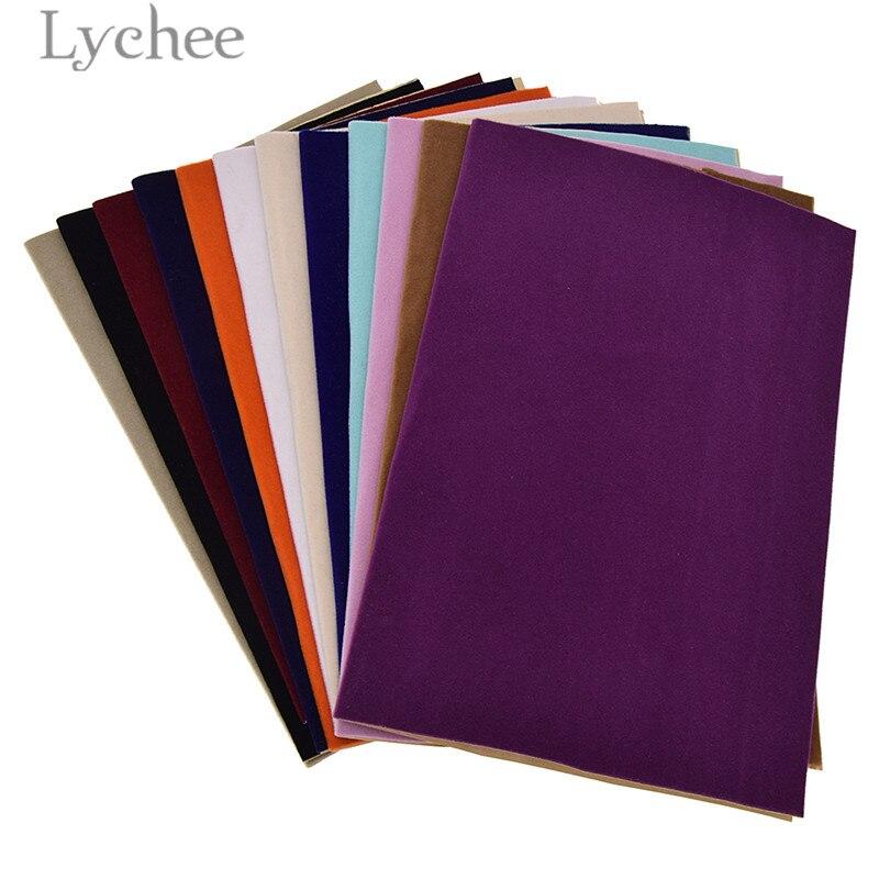 Lychee vida 29x21cm a4 auto-adesivo veludo tecido de costura folhas de papel de contato forro diy para gaveta de jóias
