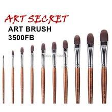 3500FB haute qualité corée importation taklon cheveux long manche en bois fournitures dart aquarelle acrylique gouache brosse