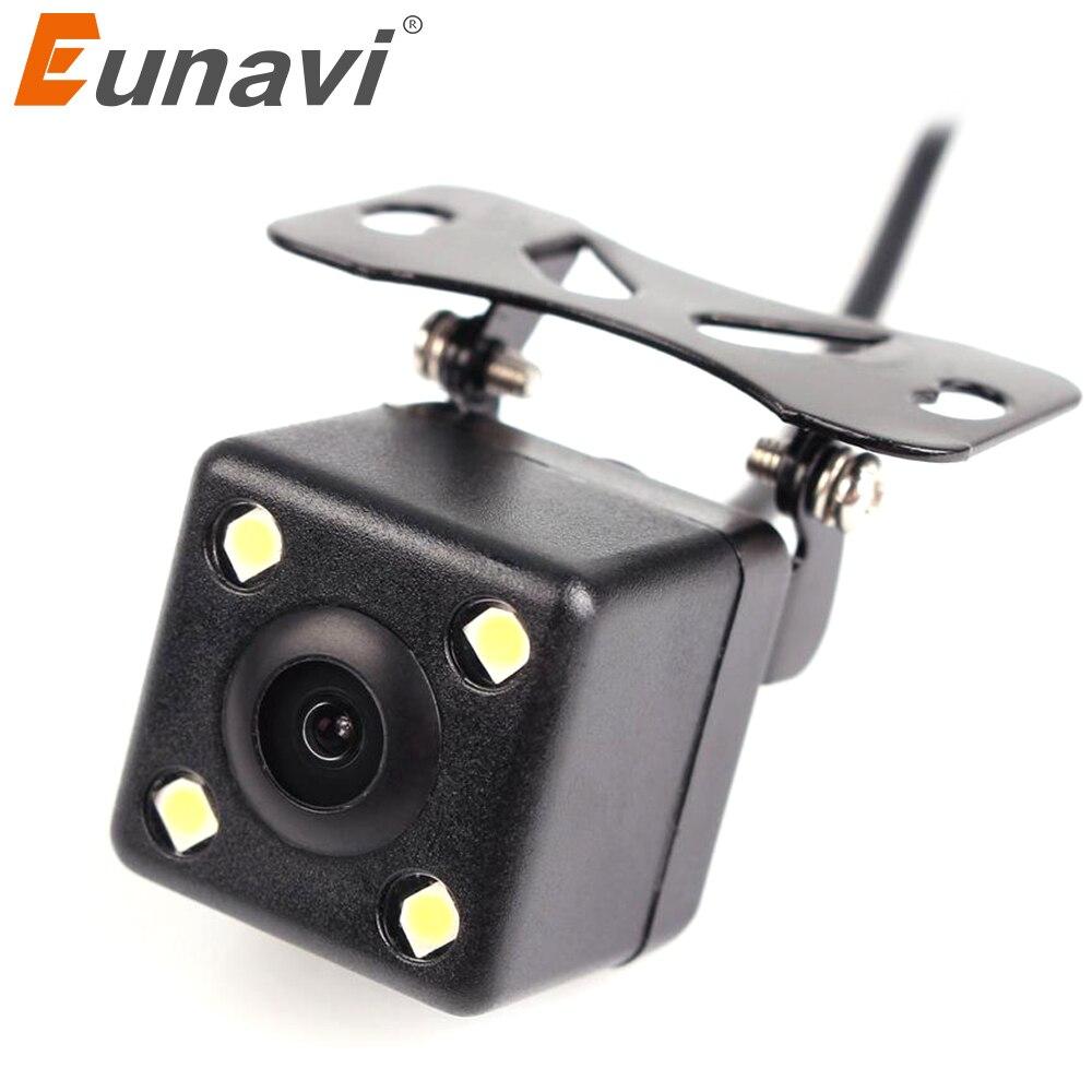 Водонепроницаемая камера заднего вида Eunavi, Full HD CCD, Автомобильная камера заднего вида с 4 светодиодами, Система помощи при парковке автомоби...