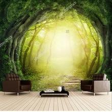 Custom papel de parede infantil, Magic Zwart Forest Road, 3D fantasy voor kamer slaapkamer muur Textiel wandbekleding
