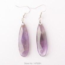 12x40mm gota dupla face vulcânica ametistas unakite turquesa lapis opal rosa contas de quartzo brincos 1 par
