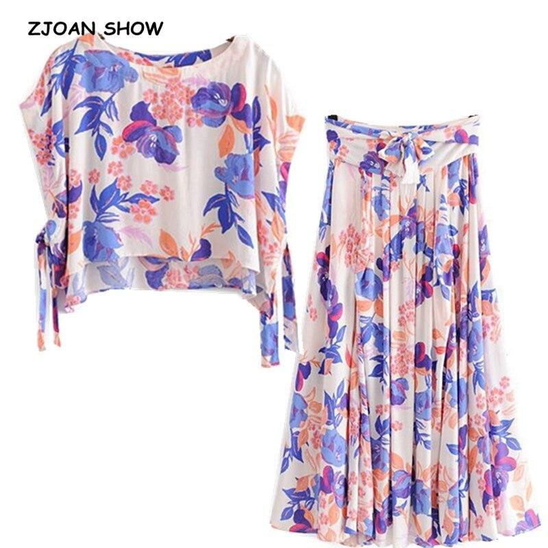 2019 de algodón de verano nuevo flor camisa marea lazo cintura falda Vintage de las mujeres de manga corta Jersey Tee Tops 2 piezas