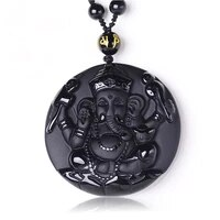 jewelry natural black obsidian ganesh elephant pendants necklace fashion women mens amulet lucky pendants with chain 2018 new