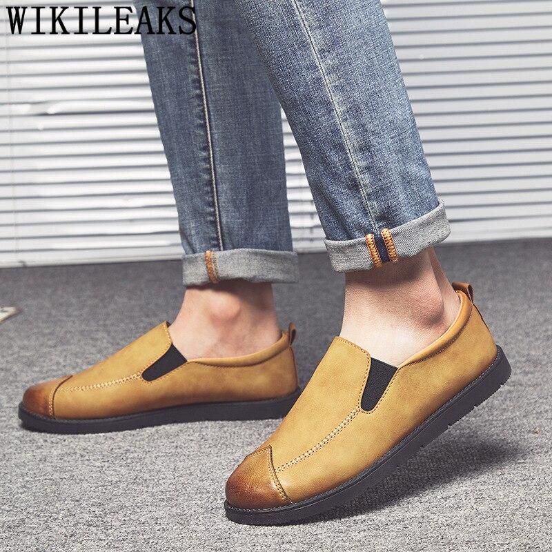 Sapatos de Couro Sapatos Masculinos Moda Masculina Casuais Venda Quente Couro Mocassins Homme