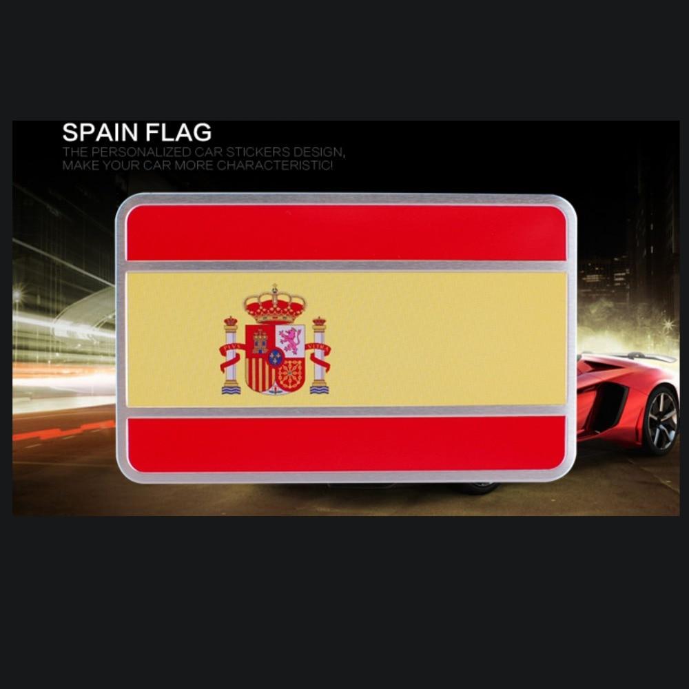 1 stück, Freies Verschiffen, Spanien Auto Nationalen Flagge Aufkleber, rechteck Kühlen Auto Körper/Tuning/Metall Aufkleber, Aluminium Legierung Gebürstet