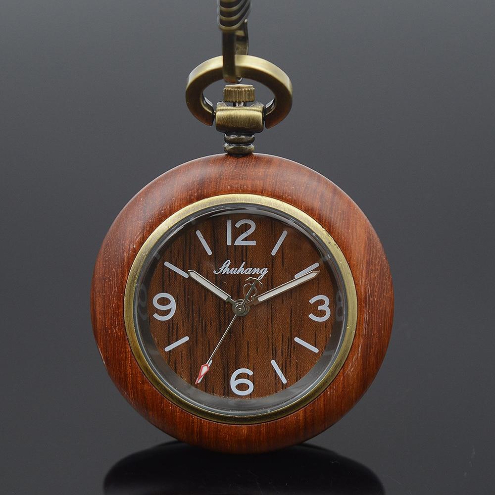 Shuhang Brand Bronze Tone Wooden Case Japan Quartz Movement Mens Womens Pocket Watch W/Chain Luxury Wooden Watches Xmas Gift