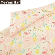 Teramila 100% Cotton Fabric Animal Design Pink Cloth  Handmade Home Textile DIY Bed sheet Baby Sewin
