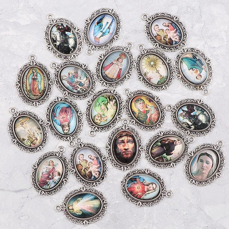 20pcs 22x30mm Oval Glass Cabochons Religion Silver Zinc Alloy Rosary Charms Pendants DIY Jewelry Saint Rita Accessories