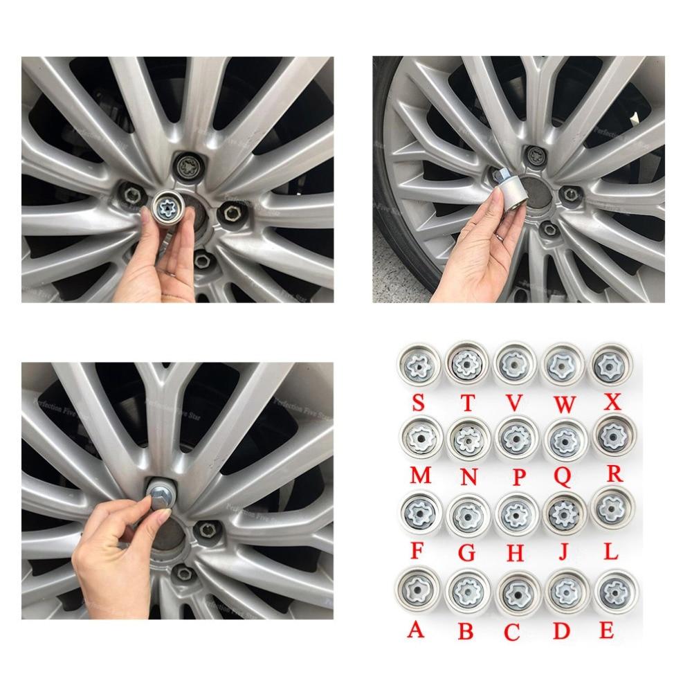 "1 Uds neumático anti-robo tornillo herramienta de desmontaje clave manga para Audi A1 A5 A3 A4L A6L A7 Q3 Q5 A8 TT R8 ""ABCDEFGHJLMNPQRSTVWX"""