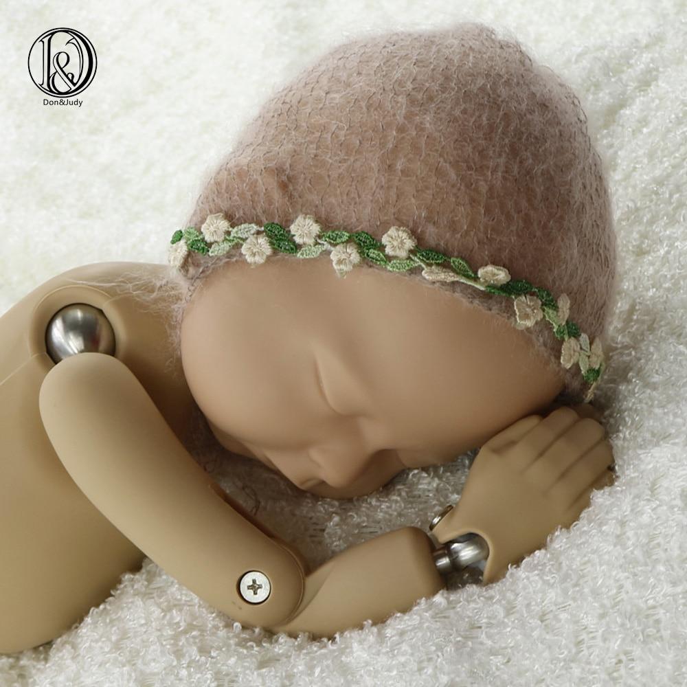 Mohair recién nacido tamaño recién nacido sombrero hecho a mano con borde de flor verde accesorios de fotografía recién nacido gorro suave sombrero