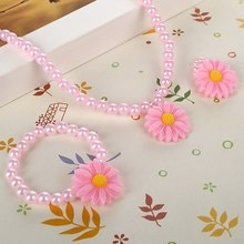 Vriendelijke Resin Baby Mooie Baby Bloem Ketting Armband Vinger Ring Set Kids Sieraden Set Kinderen Accessoires Handgemaakte