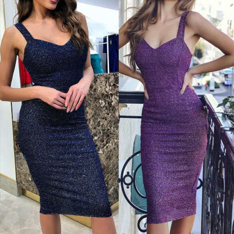 Vestido Sexy de verano para mujer, ceñido, de moda Vintage púrpura con lentejuelas cortas, vestido Midi elegante para mujer, vestido de fiesta de cóctel