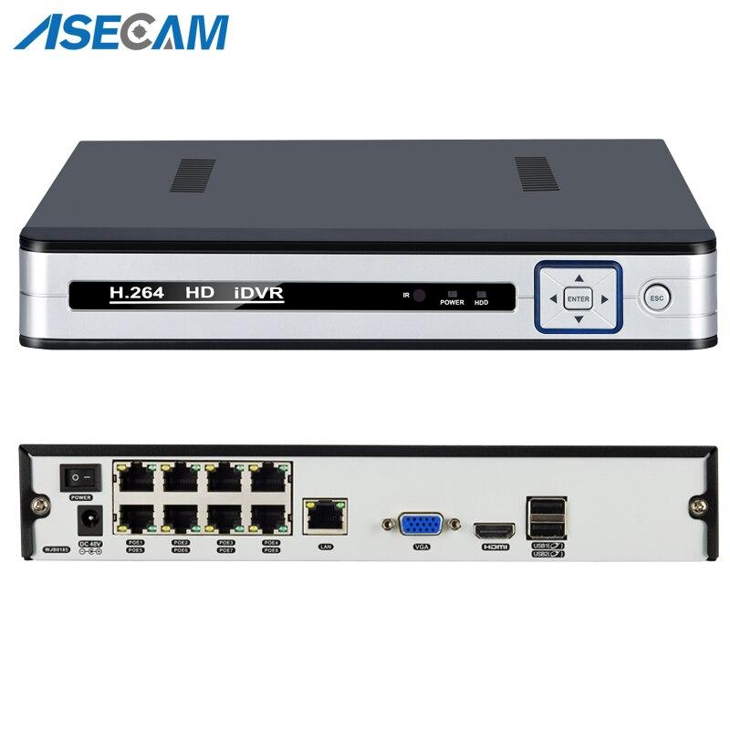 Nuevo grabador de vídeo de red todo en uno 4CH 8CH 48 V PoE 1080 P H.265 NVR onvif IP cámaras P2P vmeyesuper de sistema de CCTV