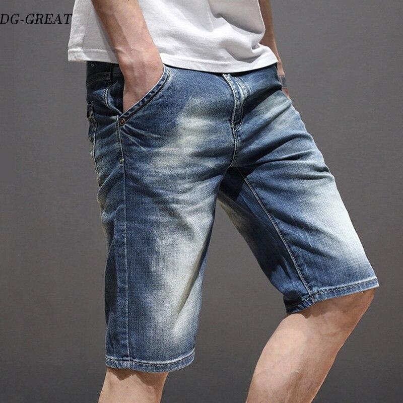 Pantalones vaqueros de mezclilla de algodón de alta calidad delgados elásticos de marca de verano de 2019 para Hombre Pantalones cortos azules suaves hasta la rodilla hombre
