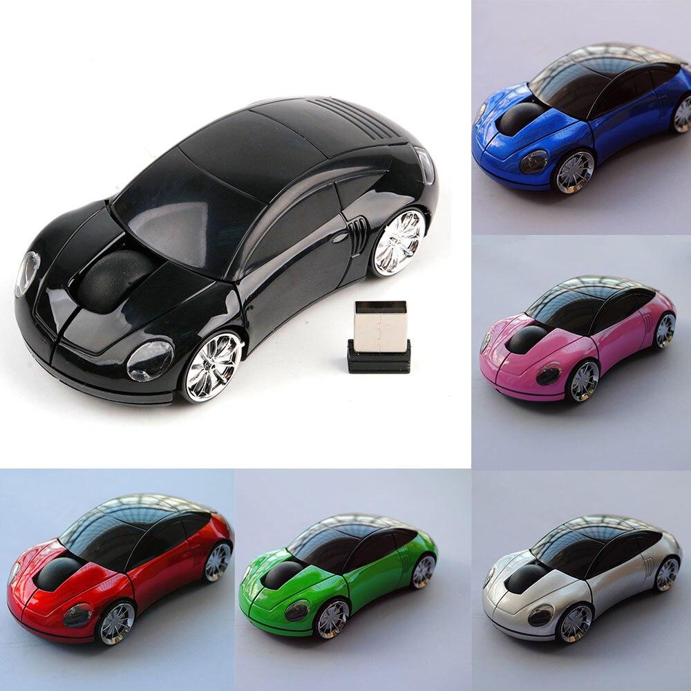 Ratón inalámbrico portátil para ratón de ordenador portátil 2,4 Ghz receptor de ratón Gaming para ordenador óptico USB Mini Botón de forma de coche