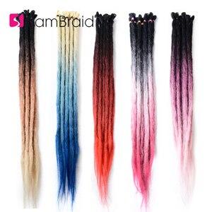 Sambraid 40 г/5 прядей/партия розовый Омбре крючком Хай ручной работы дреды вязаные крючком косички синтетические волосы для наращивания для черных женщин