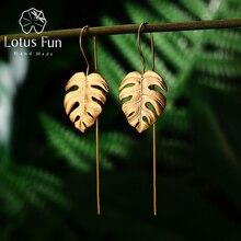 Lotus Plezier Echte 925 Sterling Zilveren Handgemaakte Fijne Sieraden Creatieve Monstera Bladeren Ontwerp Dangle Oorbellen voor Vrouwen Bijoux