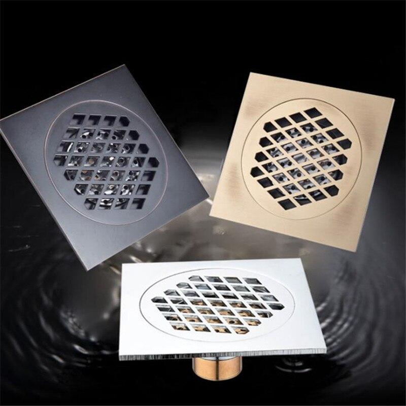 Liuyue dreno de assoalho preto 15 × 15 cm super maior dreno de assoalho do banheiro material de construção filtragem desodorização drenos ferragem