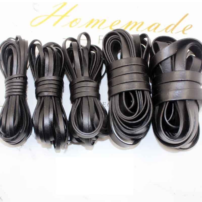 2 metros Vintage negro Color marrón cuero genuino cable 3 4 5 8 10mm ancho 1,4mm grosor Real hallazgos de hilo de cuero de vaca