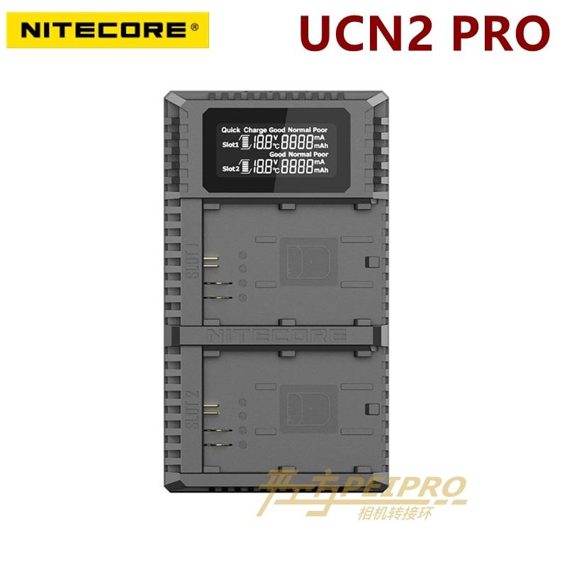 Nitecore UCN2 Pro Dual ranura USB QC LP-E6 LP-E6E cargador para Canon DSLR CANON EOS 60D 5D3 7D 70D 5D Mark II SLR de batería de la cámara