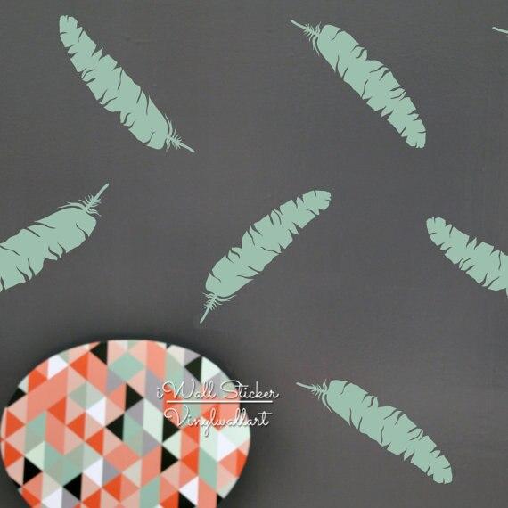 Pegatina de pared de pluma, pegatina de pared de pluma moderna, extraíble fácil de Arte de la pared Decoración, pegatinas de plumas de vinilo cortadas para sala de estar P47