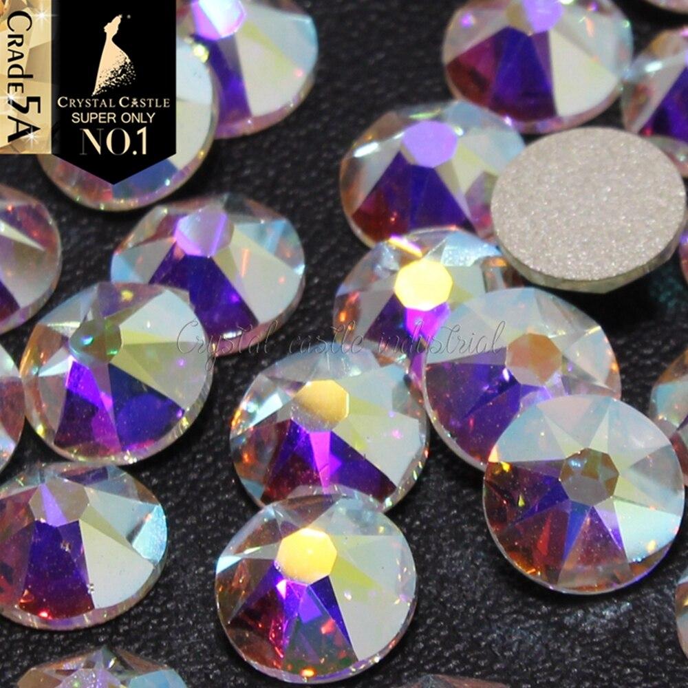 Cristal castelo 6a strass extremamente brilhante plana volta cristal ab pedras artesanato não-hotfix strass para sapatos femininos