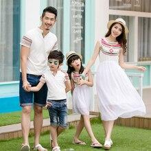 Familie passenden outfits sommer mutter und tochter kleid sommerkleid chiffon-kleid jungen kragen t-shirt totem weiß familie aussehen