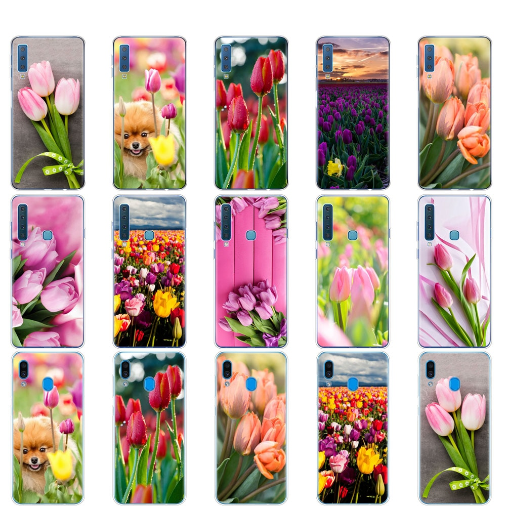 Funda para Samsung A50 funda para Samsung Galaxy A50 A60 A10 A30 A40 A70 A 50 2019 A9 A7 2018 tulipanes primavera flor rosa púrpura