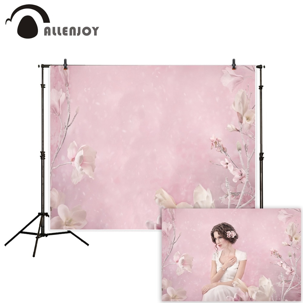 Allenjoy photography backdrops girl pink flowers spring oil painting party Photo background newborn baby photozone photocall allenjoy photography backdrops background stage dancers pink green bokeh watercolor baby shower newborn props spring princess