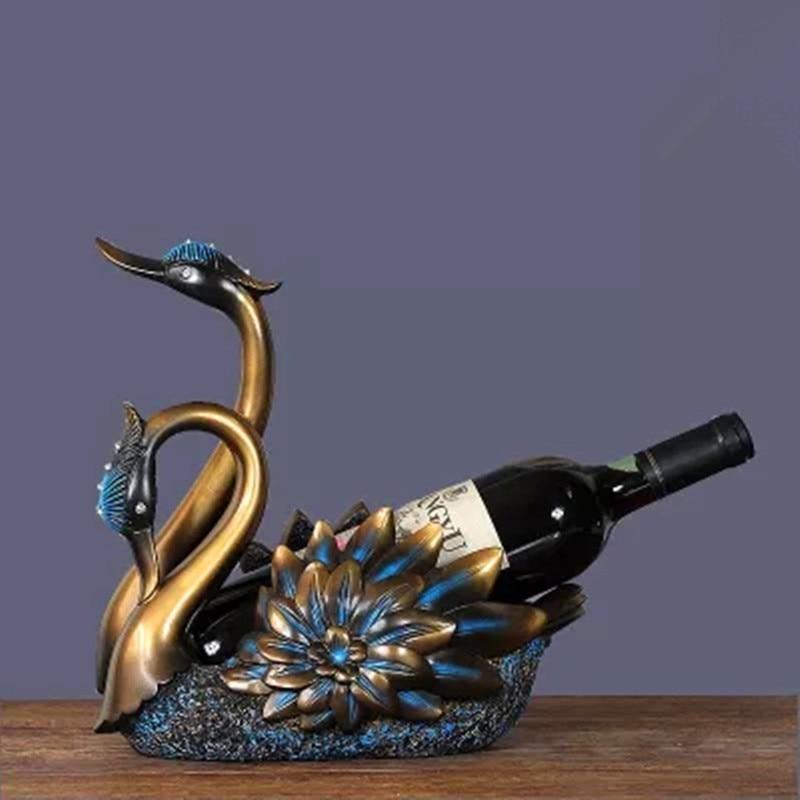 Elegant Swan Red Wine Rack European Style Retro Colophony Crafts Wine Cabinet Decoration G1761