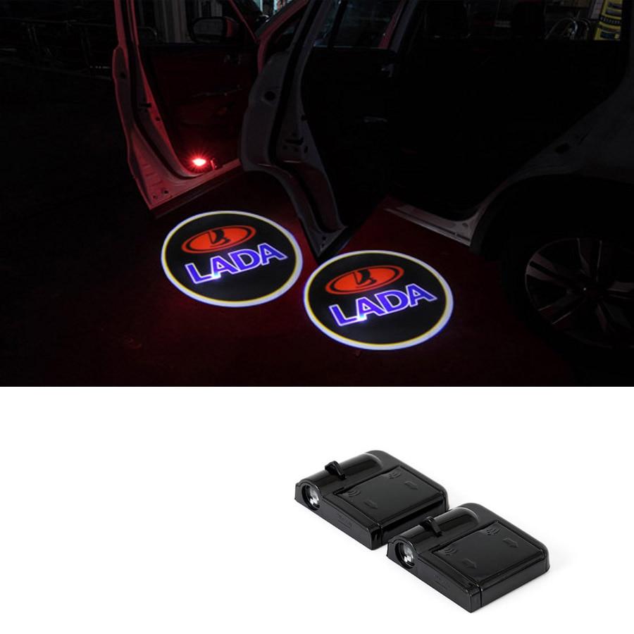 Wireless Car Door Welcome Logo Light Projector For Lada 2112 2113 2114 2106 Samzra Patriot Priora Kalina Largus Niva 4X4 Vesta