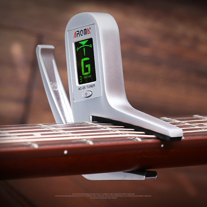 Professional Electric Guitar Bass Capo Tuner Metal Guitar Capo with Auto Tuner 2-in-1 Tuning Clip for Guitar Bass Accessories enlarge
