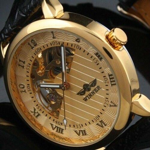 Famosa marca Mecánica popular WINNER 2019 para hombre, reloj esqueleto clásico informal de moda para hombre, correa de cuero con esfera de oro