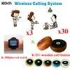 מערכת שיחת מלצר אלחוטית זמזם 3 כפתורי צפו מקלט + 30 יחידות ציוד הביפר למסעדה