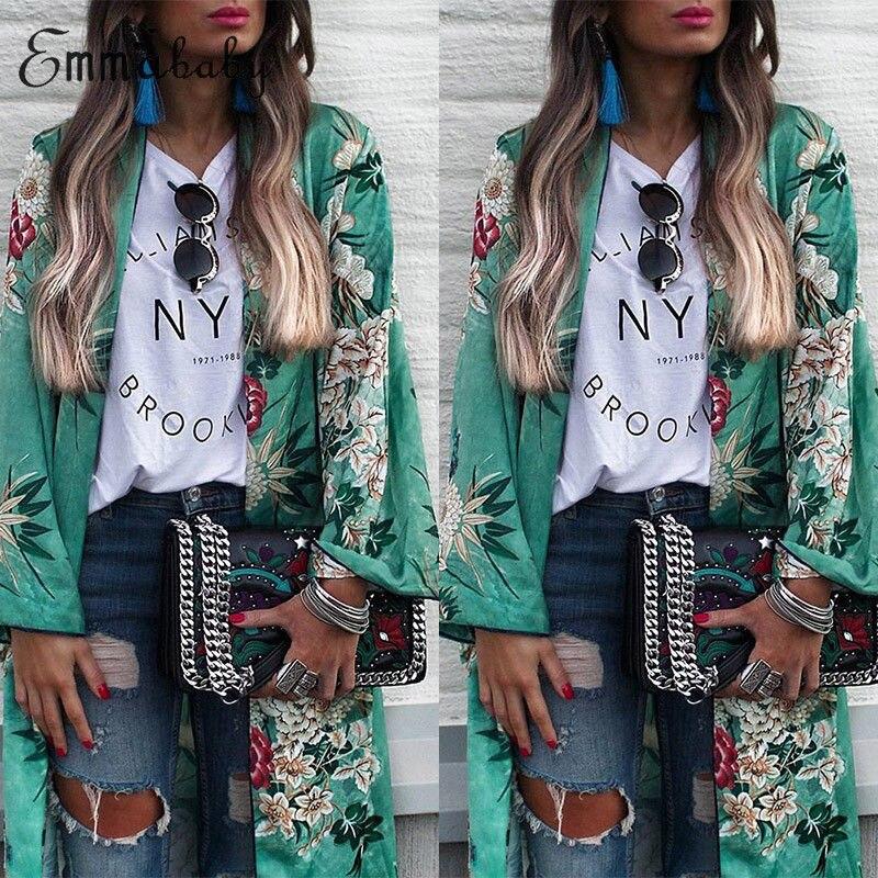 Sexy Women floral Chiffon Geometry Loose Shawl Kimono Boho Coat Jacket Blouse Swimwear Beach Cover Up blouse dress 3XL