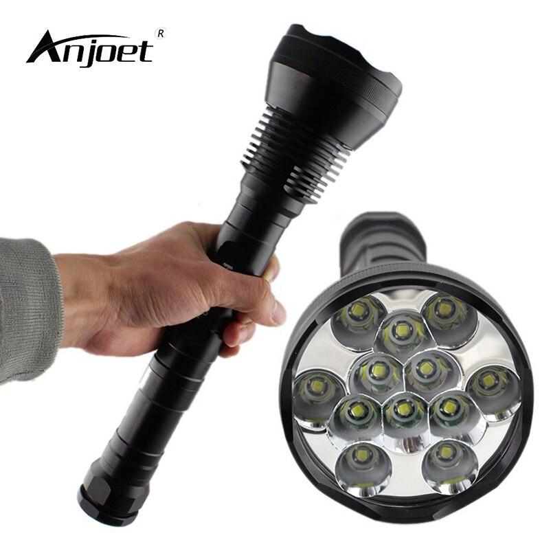 anjoet lanterna led de alto brilho 12t6 12x xml t6 26650 18650 para esportes ao ar