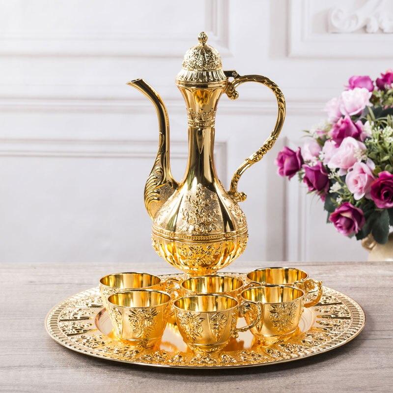 Banhado a Ouro Weinfass para Decoração de Casamento Conjunto de Ferramentas Copo de Vinho + 1 Bandeja + 1 Europa Conjunto Vinho Barware 6 Pcs Flagon Jj065 Bar
