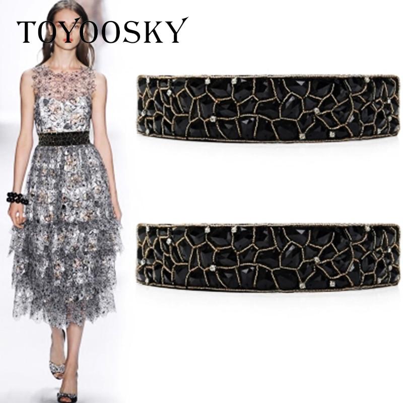 2020 New Arrival Luxury Elastic Vintage Women Belt with Rhinestone belts for women Ceinture Femme High Quality TOYOOSKY