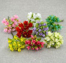 Simulation de fleur de cerisier artificielle 12 pièces/lot   Fleur en soie, matériel de couronne, fleur de poignet de la mariée, décoration de fleur de mariage
