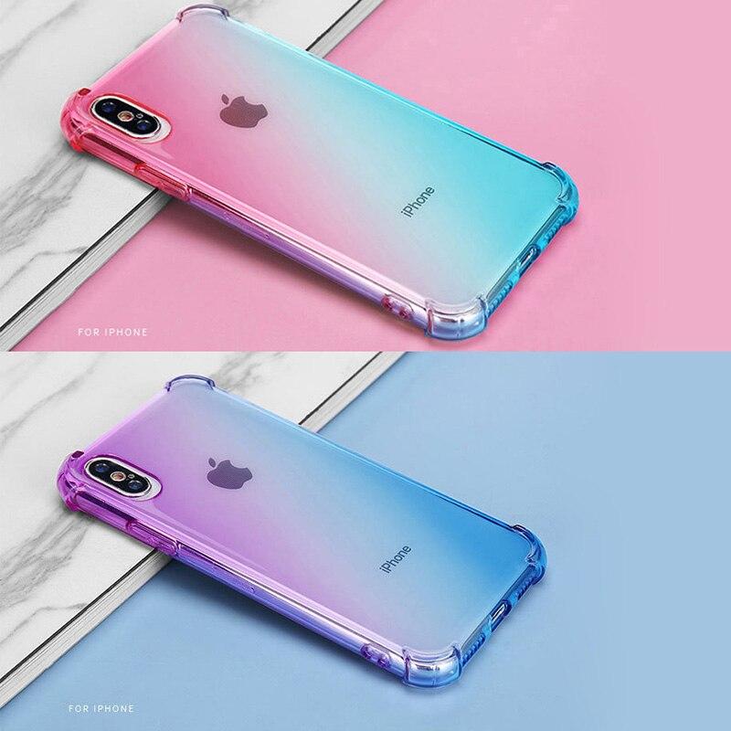 Funda de teléfono de Color degradado arcoíris TPU claro y suave para Apple iPhone 11 Pro XR XS Max 8 7 6S Plus SE funda transparente a prueba de golpes